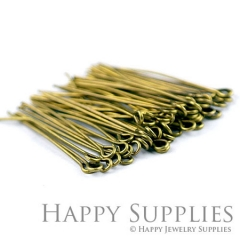 200pcs 35mm Long Antique Bronze Headpins (21021)