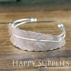 1Pcs High Quality Silver Plated Filigree Feather Pad Cuff Bracelet (PMB-S)