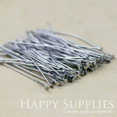 200pcs 50mm Long Antiqued Silver Headpins (28643)