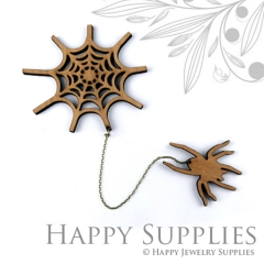 2 sets DIY Laser Cut Spider with Spider Web Brooch (Not Finished Product)