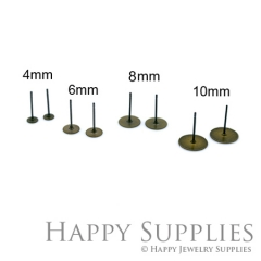 100pcs Nickel Free - High Quality Antique Bronze Plated Brass Earring Posts With 4mm/ 6mm/ 8mm/ 10mm Pad