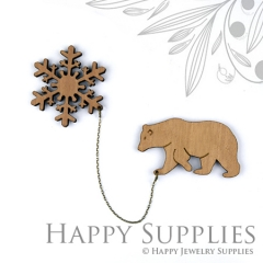 2 sets DIY Laser Cut Bear with Snowflake Brooch (Not Finished Product)