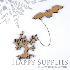 2 sets DIY Laser Cut Bat with Ghost Tree Brooch (Not Finished Product)