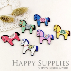 6pcs Handmade Wooden Hobbyhorse Charms Pendants