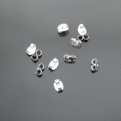 100pcs 5mm Silver Plated Earring Studs Back Stoppers (19651)