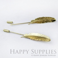 1Pcs 62mm Nickel Free - High Quality 14k Golden Brass Feather Safety Pin / Brooch (ZX153)