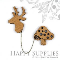 2 sets DIY Laser Cut Deer with Mushroom Brooch (Not Finished Product)