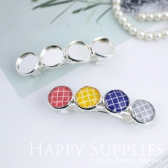 5pcs Silver Plated Hair Barrette with 12mm Cameo Setting (06886-S)