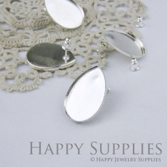 10pcs Silver Plated Teardrop Earring Posts With 18x25mm Teardrop Base Setting (0596-S)