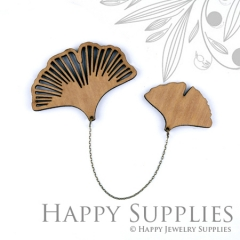 2 sets DIY Laser Cut Ginkgo Leaf Brooch (Not Finished Product)