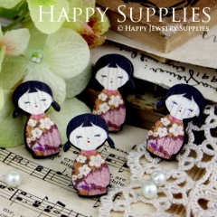 4pcs Mini Handmade Colorful Japaness Doll Charms Pendants
