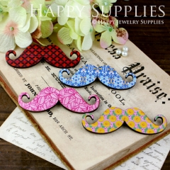 4Pcs Large Handmade Colorful Moustache Charms Pendants