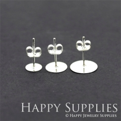 40sets - Nickel Free - High Quality Silver Plated Brass Earring Posts With 6mm/ 8mm/10mm Pad And Stopper
