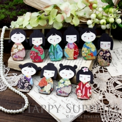 10pcs MIX Large Handmade Colorful Japanese Doll Charms Pendants
