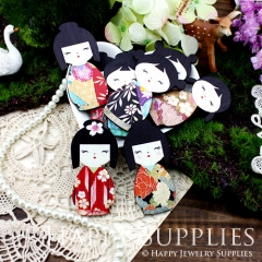 4pcs Large Handmade Colorful Japaness Doll Charms Pendants
