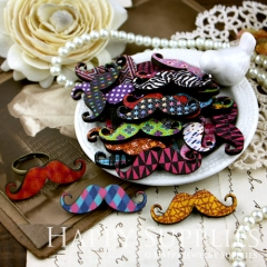 20Pcs Mini Handmade Colorful Moustache Charms Pendants
