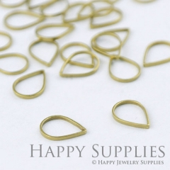 20pcs - 7.6X10.8mm High Quality Raw Brass Teardrop Charms / Pendants Connector ( ZG171)