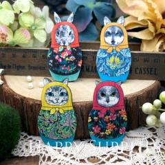 4pcs Large Handmade Matryoshka Animal Russian Doll Charms Pendants