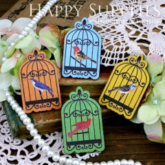 4pcs Handmade Colorful Lovely Birdcage Charms Pendants
