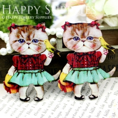 2pcs Handmade Colorful Lovely Cat Charms Pendants
