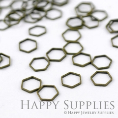 20pcs - 9mm High Quality Antiqued Vintage Bronze Brass Hexagon Charms / Pendants Connector(07056)
