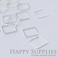 20pcs - 12X12mm High Quality Silver Brass Square Charms / Pendants Connector(ZG145-S)