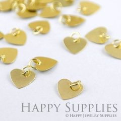 20pcs 10mm Nickel Free -High Quality Raw Brass Heart Pendant Charms / Connector with a Hole ZG129-B