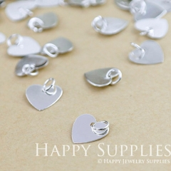 20pcs 10mm Nickel Free -High Quality Silver Heart Pendant Charms with a Hole (ZG129-S)
