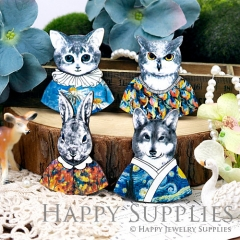 4pcs Large Handmade Matryoshka Animal Doll Charms Pendants