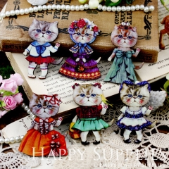 6pcs MIX Handmade Colorful Lovely Cat Charms Pendants