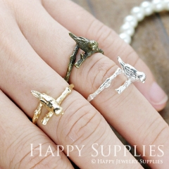 2Pcs 19mm Silver Golden Antique Bronze Rings With Bird