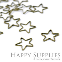 20pcs - 16mm High Quality Antiqued Vintage Bronze Star Charms / Pendants Connector(07057)