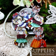 4pcs Handmade Colorful Lovely Cat Charms Pendants
