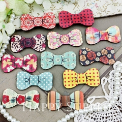 6pcs Small Handmade Colorful Lovely Bowtie Charms Pendants