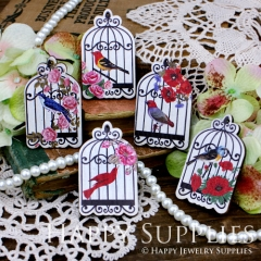 5pcs Handmade Colorful Lovely Birdcage Charms Pendants