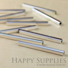 10pcs - 4x50mm High Quality Silver Brass Tube / Spacer Bar Connector (ZG143-S)