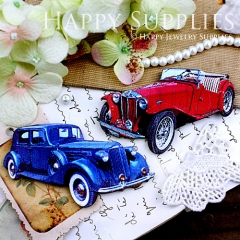 4pcs Handmade Wooden Vintage Car Charms Pendants