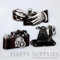 3pcs Handmade Wooden Retro Camera Charms Pendants