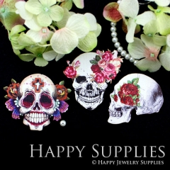3pcs Handmade Wooden Skull Charms Pendants