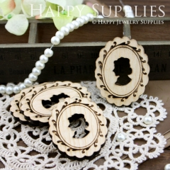 3Pcs Handmade Victorian Lady Lace Wooden Charms Pendants