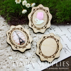 3Pcs Handmade Victorian Lace Wooden Charms Pendants