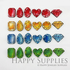 12Pcs Handmade Wood Cut Diamond Charms Pendants