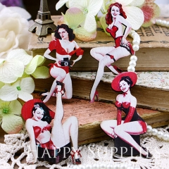 4pcs Handmade Wooden Pin Up Girl Charms Pendants