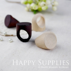 5pcs Unfinished Wooden Rings with Flat Top