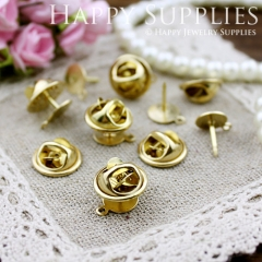 10Pcs 8mm High Quality Raw Brass Brooch (ZJ143)