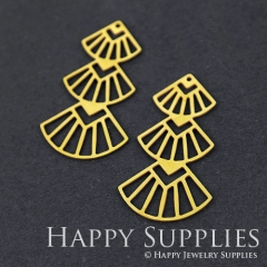6pcs Raw Brass Geometry Charm Pendant Fit For Necklace Earring Brooch RD249