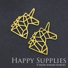6pcs Raw Brass Geometry Unicorn Charm Pendant Fit For Necklace Earring Brooch RD254