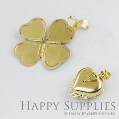 4pcs High Quality Victorian Raw Brass High Polished Folding Heart Locket Pendants / Charms (ZZ141-B) - open into a clover, holding 4 photos