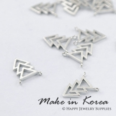 Made in Korea - 6pcs Matt Silver Plated Brass Triangle Charm / Pendant (KP4436-S) - High Quality