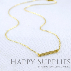 Nickel Free -High Quality Golden Long Bar Charm (Chain Optional) (ZG186)